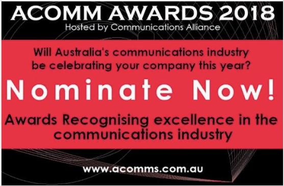 Nominations for 2018 ACOMM Awards closingshortly