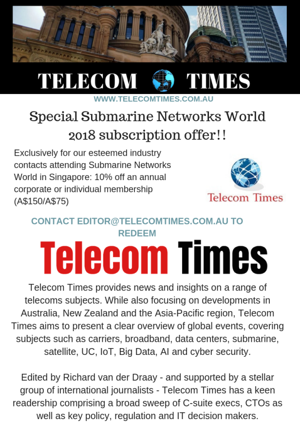 Special Submarine Networks World 2018 Telecom Times subscriptio offer